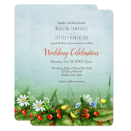 Wild strawberry meadow wildflowers rustic wedding invitation