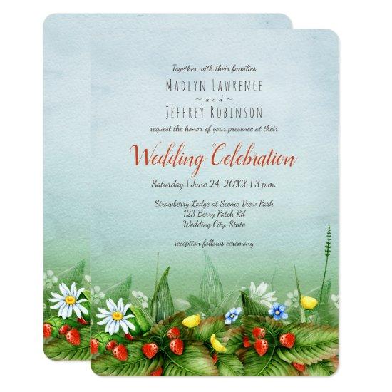 Wild strawberry meadow wildflowers rustic wedding invitation