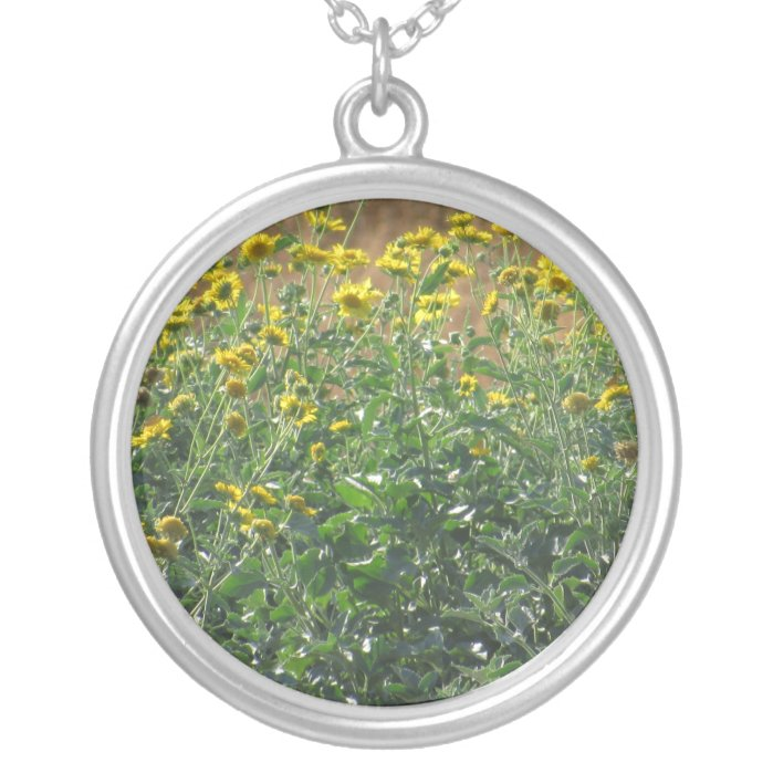Wild Sunflowers Silver Plated Necklace