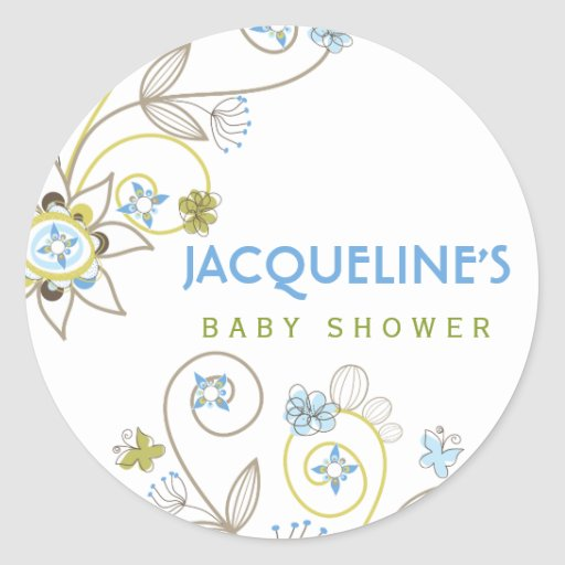 Wild Sweet Blue Blooms Baby Boy Shower Sticker