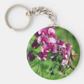 Wild Sweet-pea Flower Basic Round Button Keychain