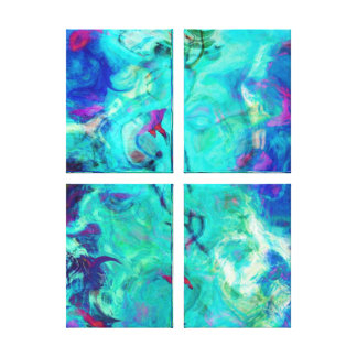 Wild Swimmer in Aqua Sky Abstract Canvas