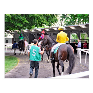 """""""Wild Target"""" and Jose Lezcano in the Paddock Postcard"""