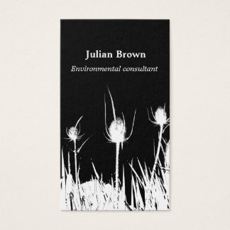 Wild Teasel Black and White Business Card
