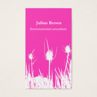 Wild Teasel in Fuchsia and White Business Card