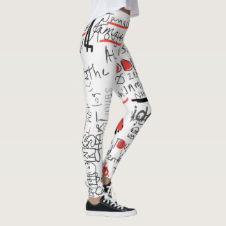 Wild text Drawing Leggings by Katie Pfeiffer