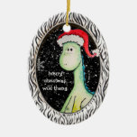 """""""Wild Thang"""" Christmas Dinosaur (Two Sided, Dated) Ceramic Ornament"""