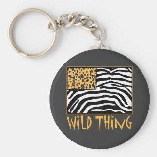 Wild Thing! Cool Animal Print design Basic Round Button Keychain