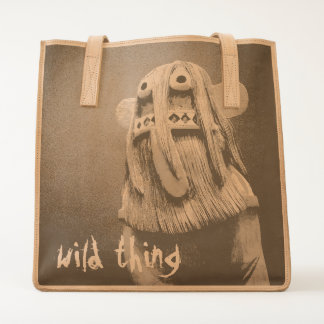 """""""Wild thing"""" quote cute, funny face photo leather Tote"""