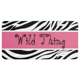 Wild Thing Zebra Stripes License Plate