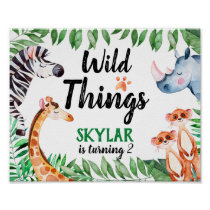 Wild Things Animal Kids Birthday Party Watercolor Poster