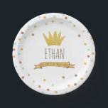"Wild Things Gold crown First birthday Paper Plates<br><div class=""desc"">♥ A perfect addition to your little one&#39;s birthday party! Wild things birthday theme with a gold crown and confetti.</div>"