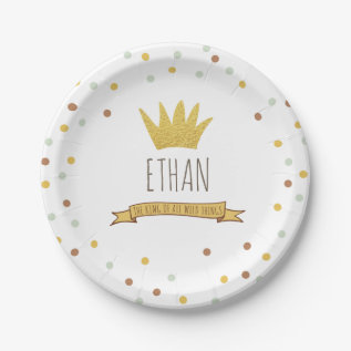 Wild Things Gold Crown First Birthday Paper Plates at Zazzle