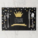 """Wild Things Gold Crown First Birthday Placemat Boy<br><div class=""""desc"""">♥ A perfect addition to your little one&#39;s birthday party! Wild Things Birthday Theme with a gold crown and confetti.</div>"""