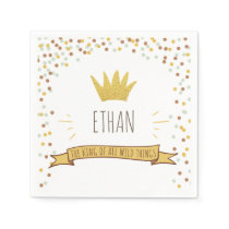 Wild things Paper Napkin Gold Crown First birthday