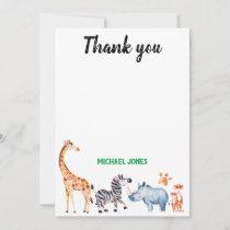 Wild Things Safarai Animal Birthday Thank You