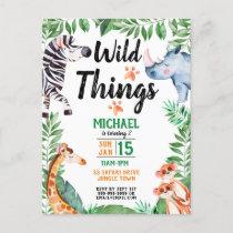 Wild Things Safari Animal Kids Birthday Invitation