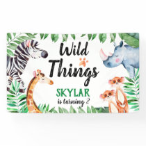 wild Things Safari Animal Kids Birthday Party Banner