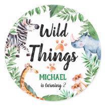 Wild Things Safari Animal Kids Birthday Party Classic Round Sticker