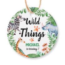 Wild Things Safari Animal Kids Birthday Party Favor Tags