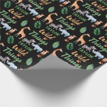 Wild Things Safari Animal Kids Birthday Party Wrapping Paper