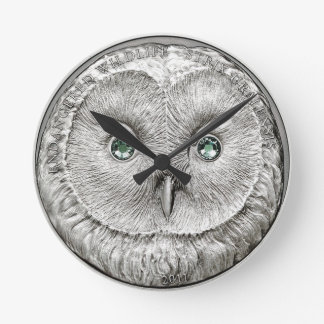 WILD THINGS: Silver Owl Round Wall Clock