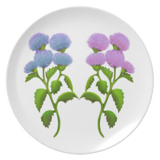 Wild Thistle Flowers Plate