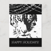 Wild Tiger and String Lights, Black and White Holiday Postcard
