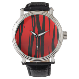 Wild Tiger Animal Print (red black) Wrist Watches
