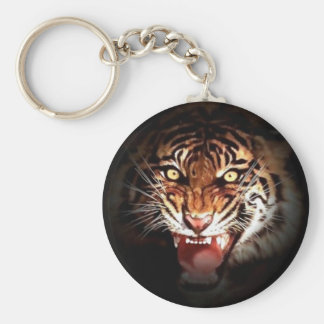 Wild Tiger Artwork Basic Round Button Keychain