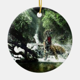 Wild Tiger Attacking a Monkey Ceramic Ornament