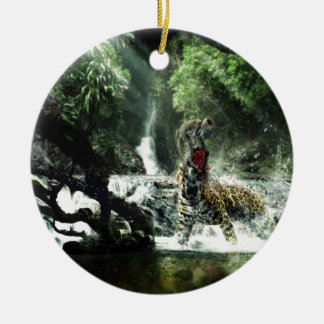 Wild Tiger Attacking a Monkey Christmas Tree Ornaments