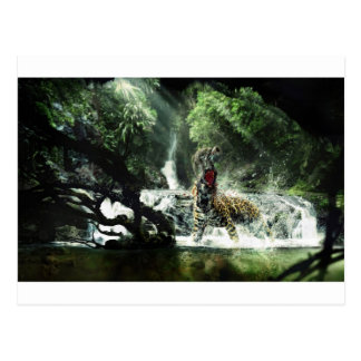 Wild Tiger Attacking a Monkey Postcard