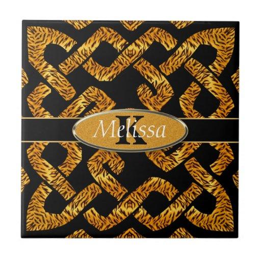 Wild Tiger Celtic Weave Monogram Tile
