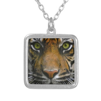 Wild Tiger Eyes Square Pendant Necklace