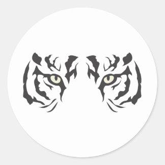 Wild Tiger Eyes Round Stickers
