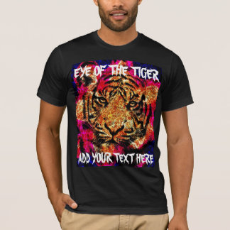 wild tiger head digital painting red yellow blue T-Shirt