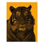 Wild Tiger in Black and White 4.25x5.5 Paper Invitation Card
