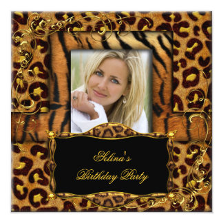 Wild Tiger Leopard Birthday Party Animal Card