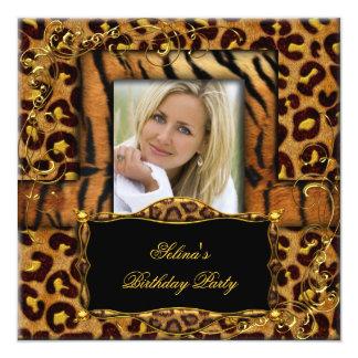 Wild Tiger Leopard Birthday Party Animal 5.25x5.25 Square Paper Invitation Card