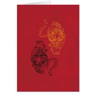 Wild Tiger Picture with Traditional Chinese Art Card