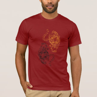 Wild Tiger Picture with Traditional Chinese Art T-Shirt