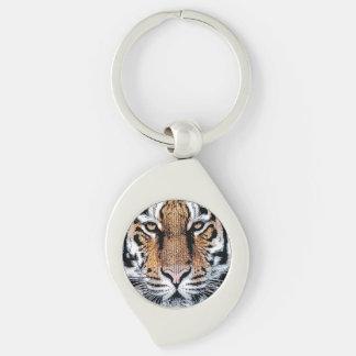 Wild Tiger Portrait Graphic Press Style Keychain