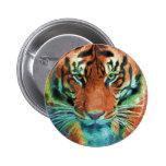 Wild Tiger Reflection Big Cat Wildlife Art Buttons