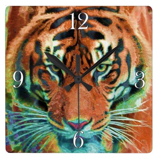 Wild Tiger Reflection Big Cat Wildlife Art Wall Clocks