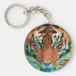 Wild Tiger Reflection Big Cat Wildlife Art Keychain