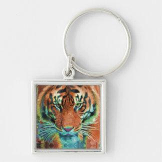 Wild Tiger Reflection Big Cat Wildlife Art Key Chains