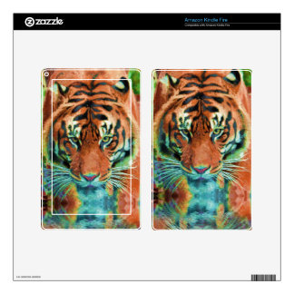 Wild Tiger Reflection Big Cat Wildlife Art Kindle Fire Decal