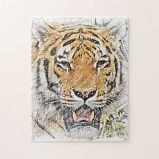 Wild Tiger Sketch - Safari Theme Jigsaw Puzzle