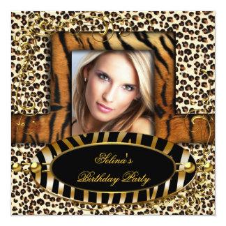 Wild Tiger Zebra Leopard Birthday Party Animal Card